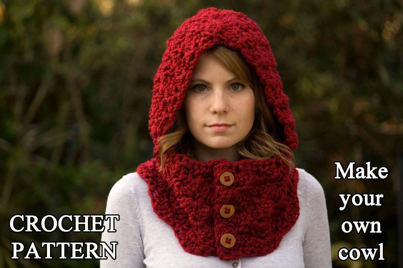 CROCHET PATTERN Hooded Cowl, Button Neck Warmer, Crochet Hoodie ...
