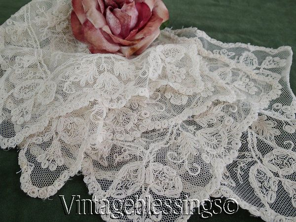 Set of 4 Antique Neederun Embroidered French Net Lace Doilies
