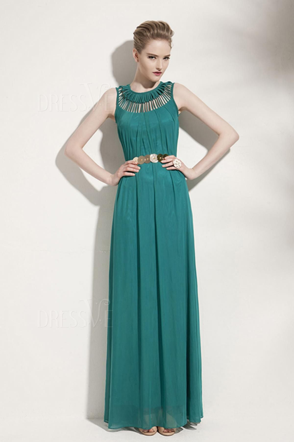 Green&Red&Back Solid Color Hollow Tassel Round-Neck Sleeveless Maxi ...