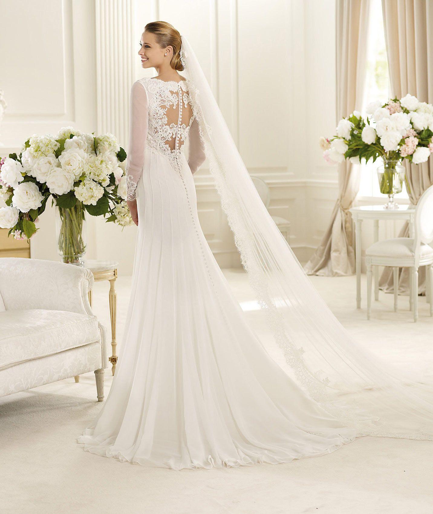 Long Sleeve Lace Wedding Dress Patterns Line Chiffon