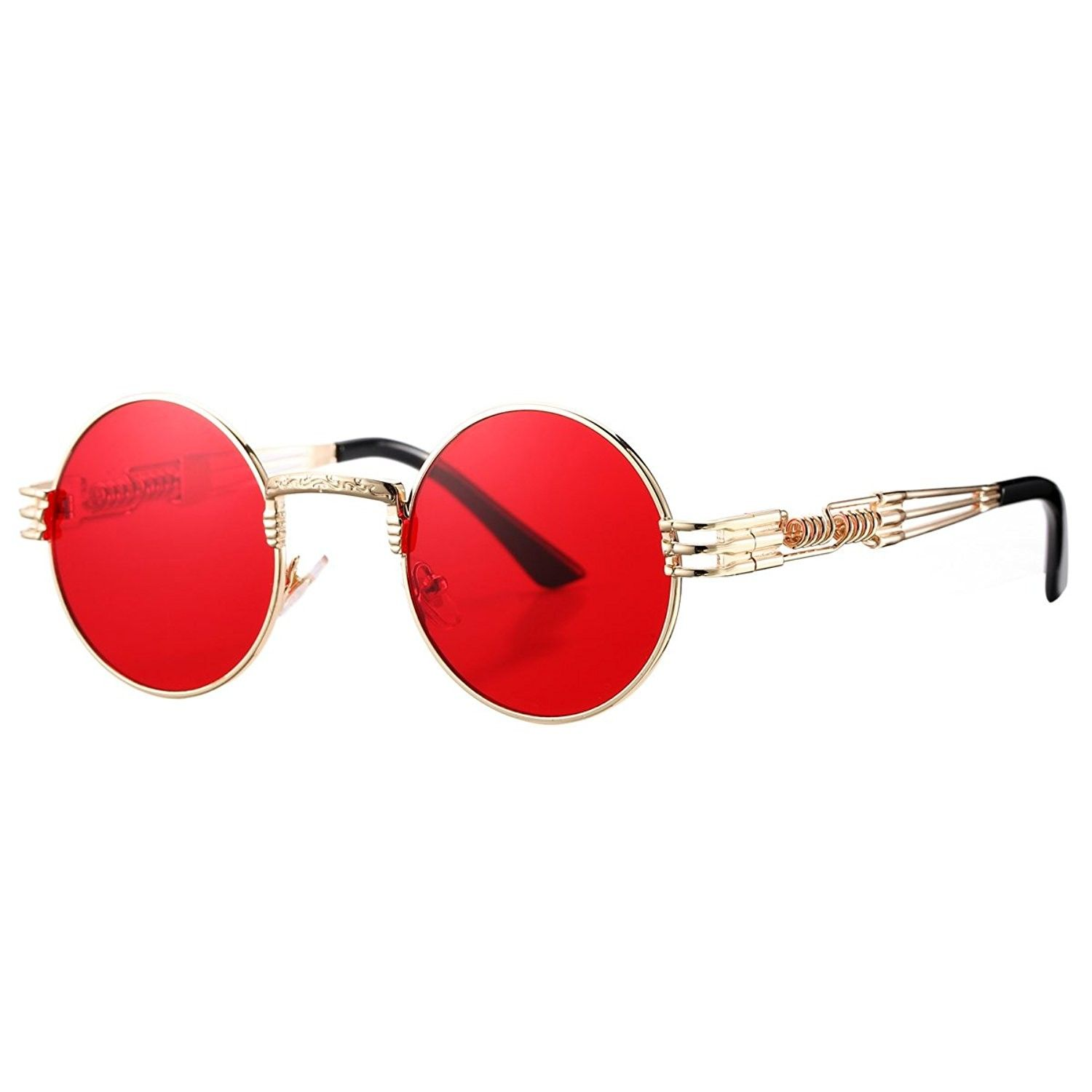 b7eaa17303 Metal Spring Frame Round Steampunk Sunglasses Clear Lens Available - Gold  Frame Red Lens - C8189CR9ORL - Men s Sunglasses