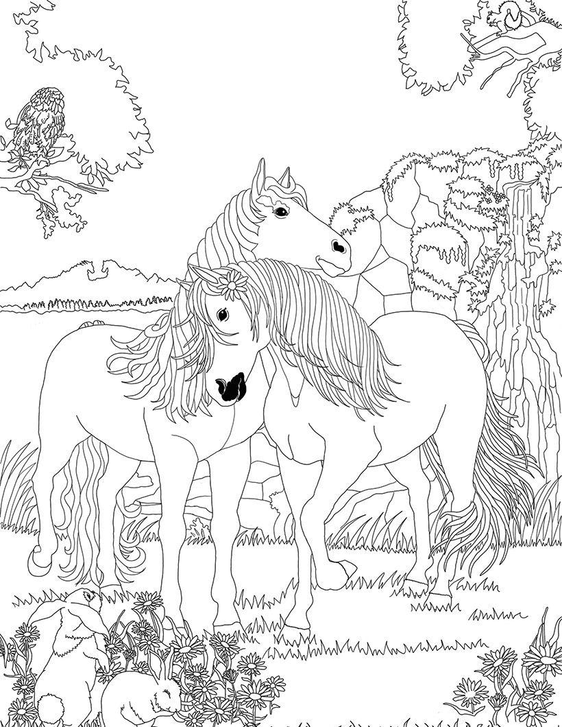 Coloriage Cheval Indien.Coloriage Chevaux Amoureux Dans Bella Sara Coloriage Coloriage