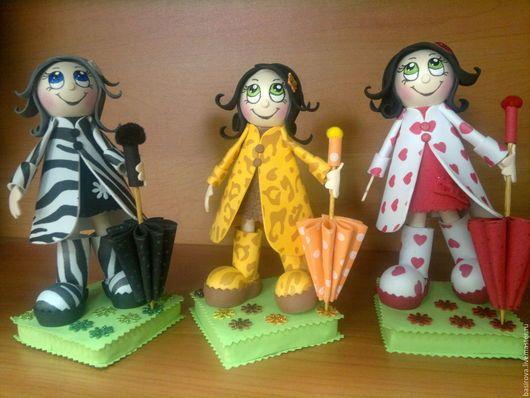 Человечки ручной работы. Заказать Куклы из фоамирана Девочки с зонтиками. Олеся Басирова Украшения с душой. Ярмарка Мастеров. Куклы на заказ