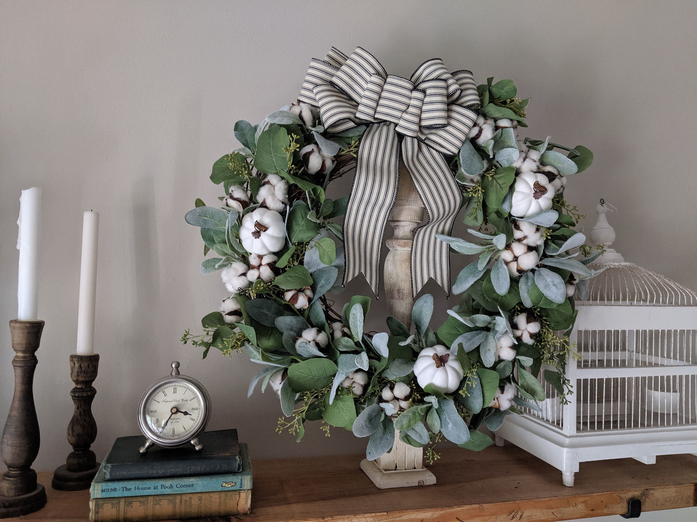 Photo of Lamb's Ear Wreath, Eucalyptus Wreath, Cotton Wreath, Farmhouse Wreath, Pumpkin Wreath, Housewarming Gift, Home Decor, Front Door Wreath