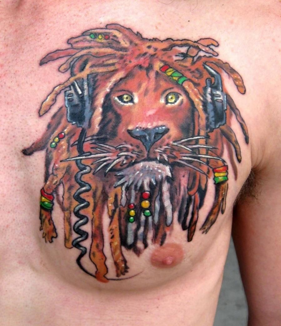 Alien Lion Color Ink Tattoo On Man Chest Tattoos For Guys Lion Tattoo Design Ink Tattoo