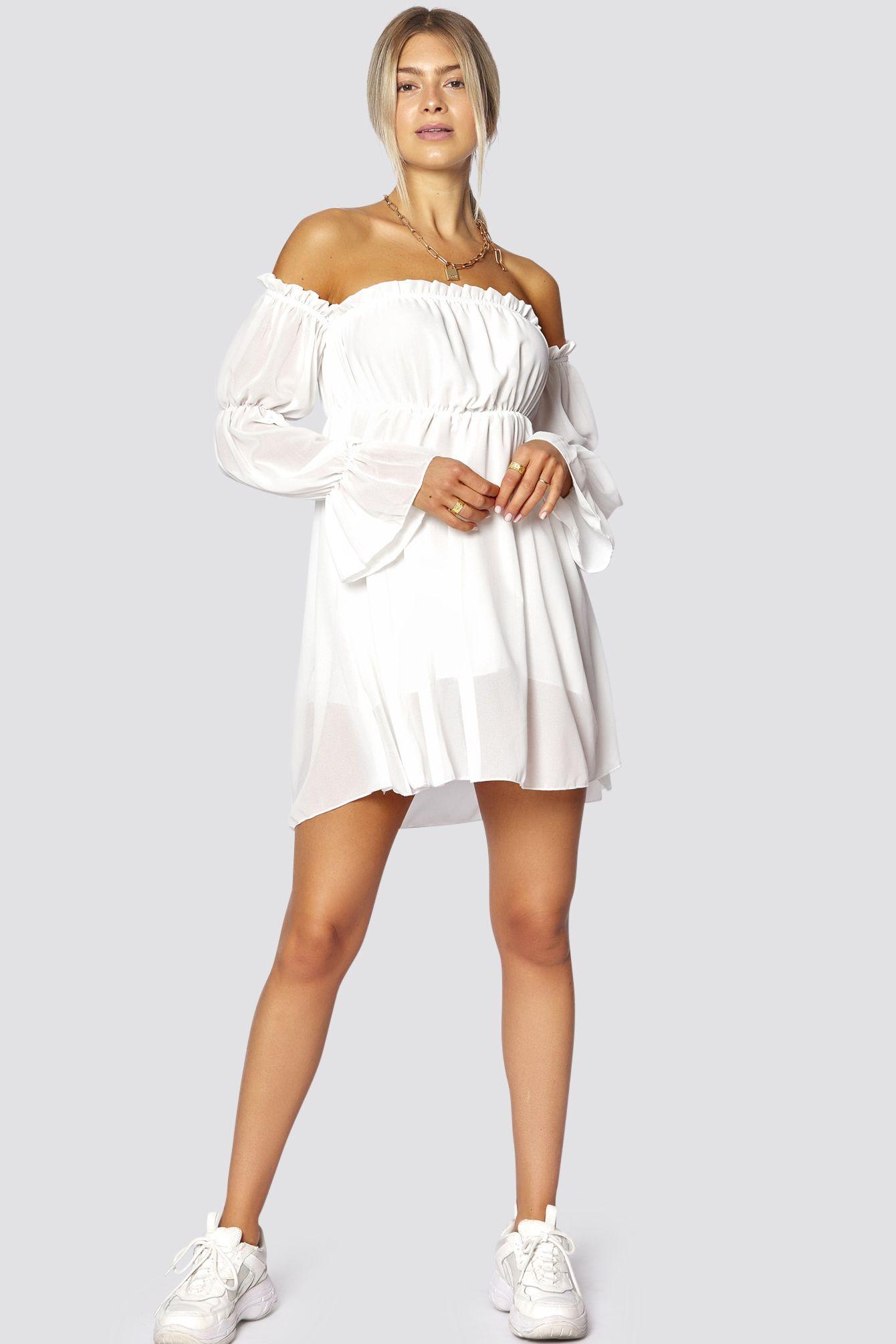 schulterfreies kleid weiß onesize | modestil, sommerkleid