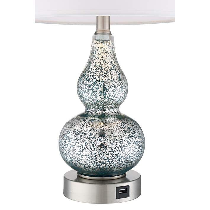 Castine Blue Mercury Glass Table Lamp With Usb Port Set Of 2 Style