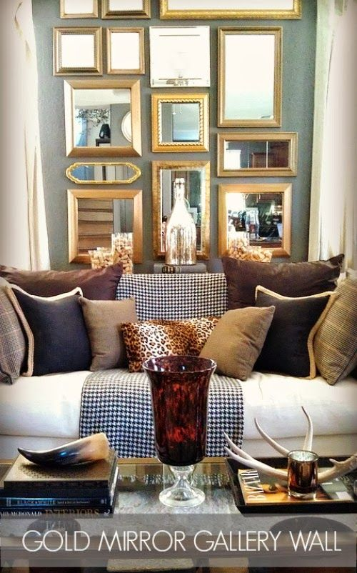 How To Create A Gold Mirror Gallery Wall Focal Point Mirror Gallery Wall Wall Decor Living Room Gold Mirror Wall