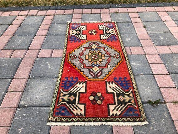 Turkish Vintage Rug Small Carpet Door Mat HANDMADE Boho Decor KILIM 1/'6 X 3/'2 Ft