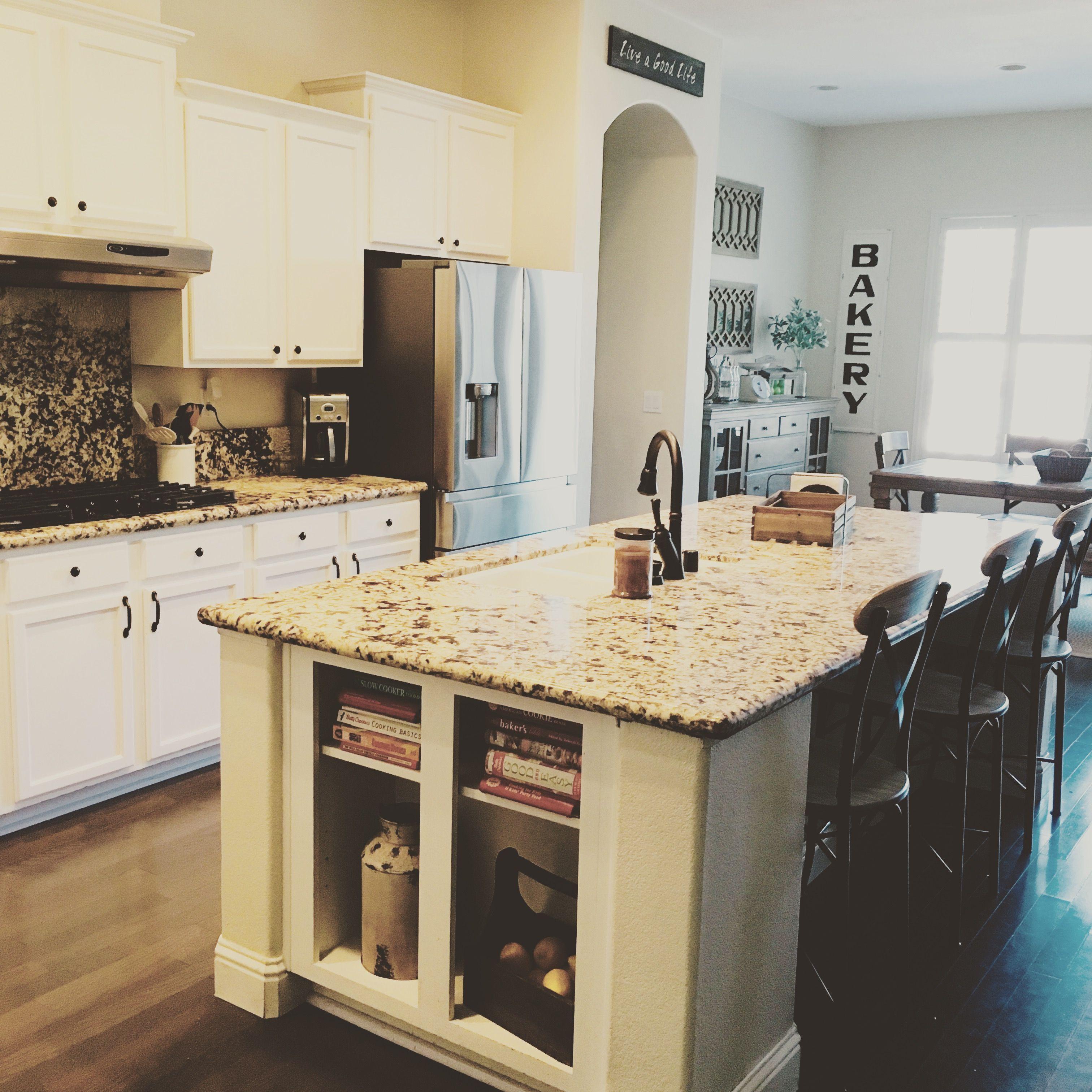 Beautiful modern farmhouse kitchen. White cabinets ... on Kitchen Farmhouse Granite Countertops  id=67801