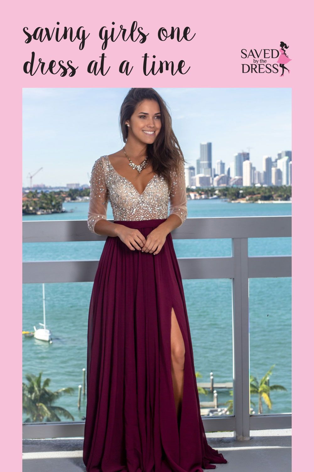 Wine Maxi Dress With Silver Jewels And 3 4 Sleeves Trendy Wedding Dresses Wine Colored Dresses Wedding Dresses [ 1500 x 1000 Pixel ]