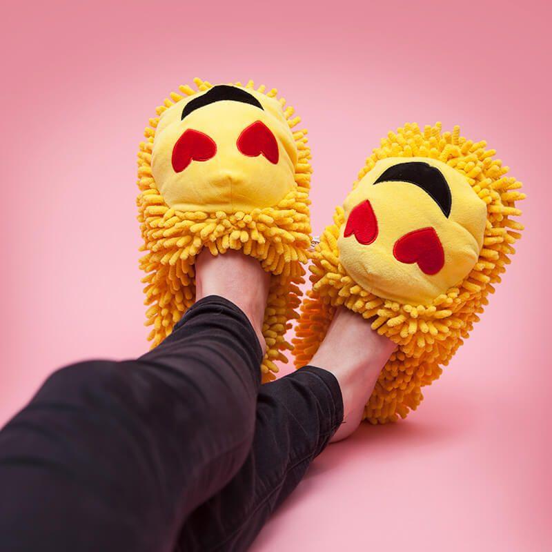 Fuzzy Friends Heart Eyes Emoji Slippers | Eyes emoji ...