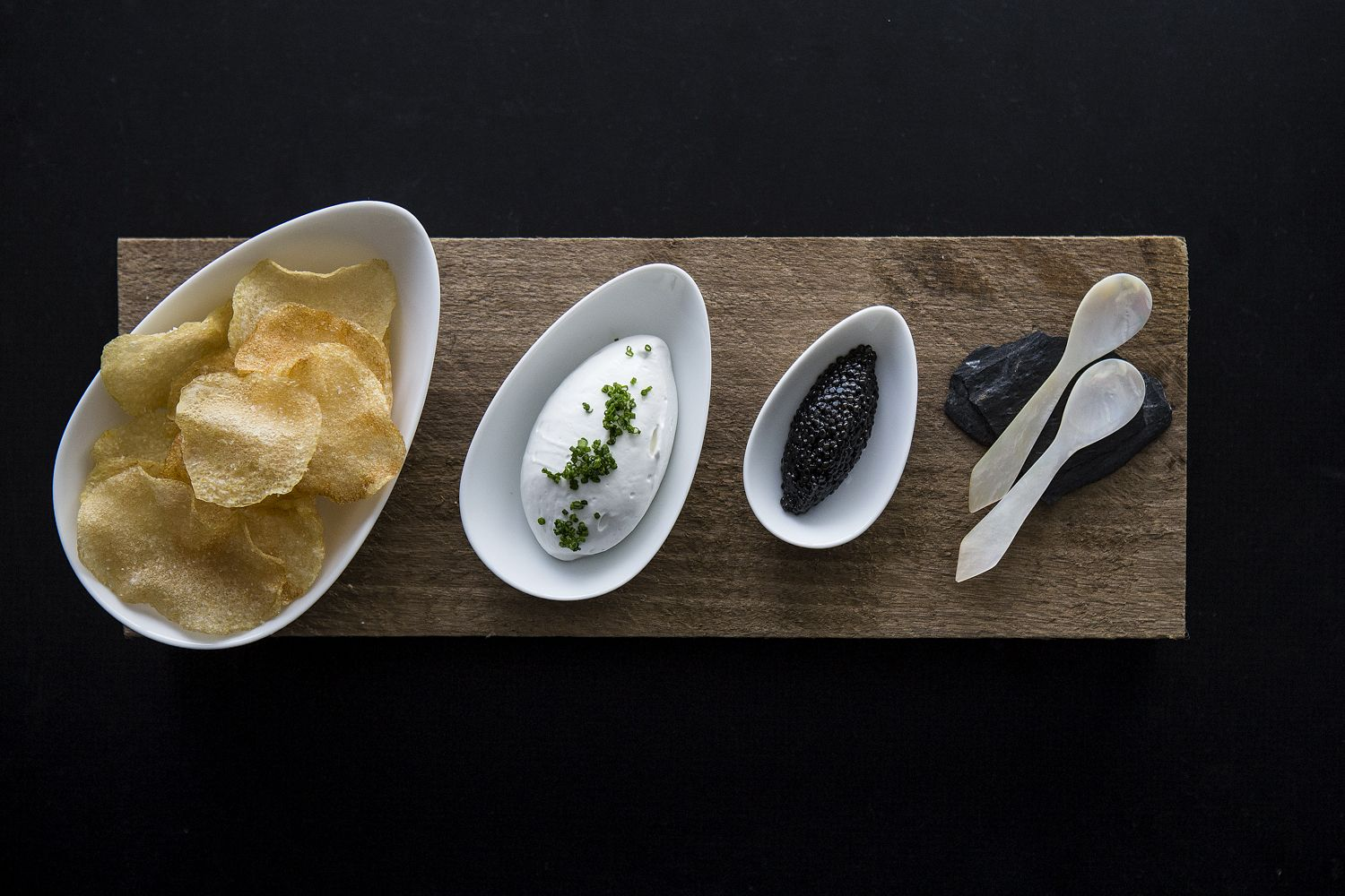 Chips and caviar at Metier Jennifer Chase Photography