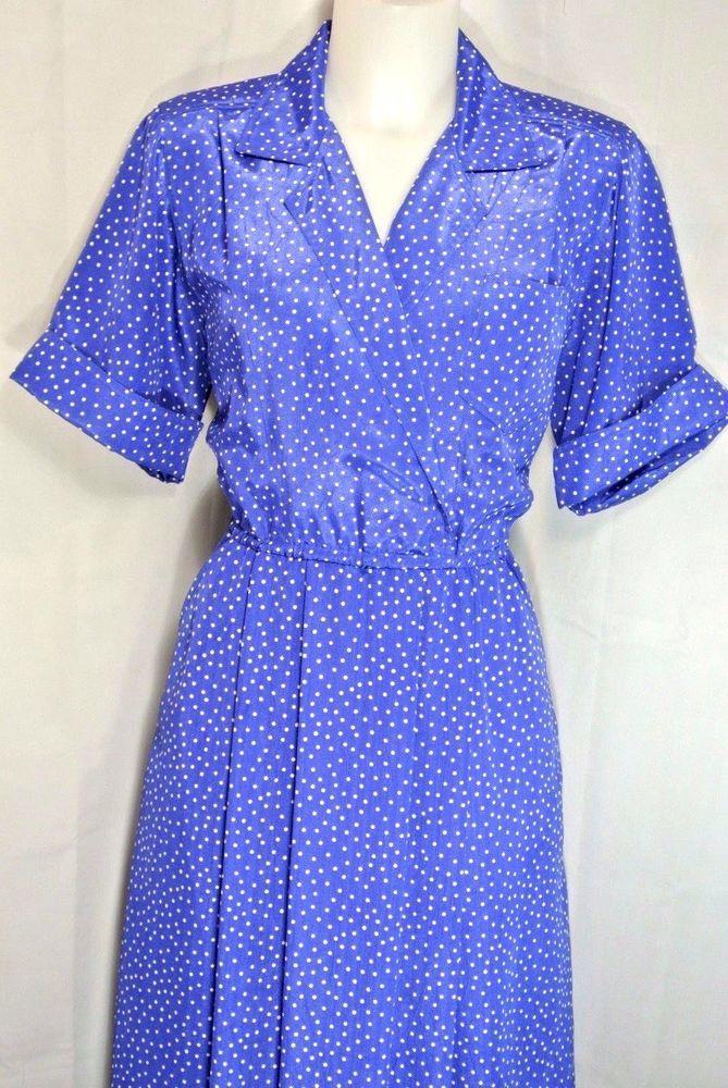 L~Blue Polka Dot Retro Dress~Vneck~Surplice~Elastic waist~ Full Skirt~Rockabilly #Unbranded #fitnflaredress #WorkCasual