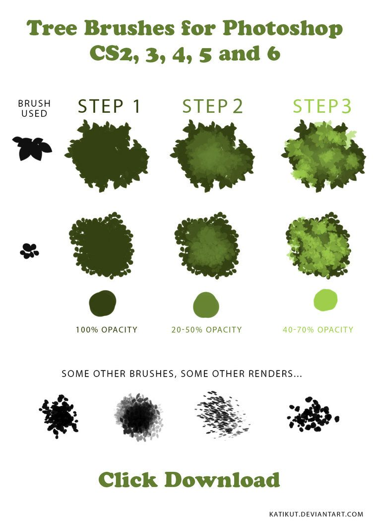 Tree Brushes Tutorial And Downloadable Brushes By Katikut Tree
