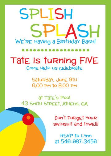 printable pool party save the date cards - Google Search Party - birthday invitation pool party
