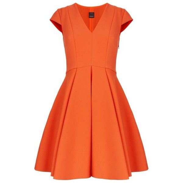 Pinko Crepe V-Neck Skater Dress (1.085 BRL) ❤ liked on Polyvore featuring dresses, orange flare dress, flared skater dress, skater dress, v neck skater dress and v-neck dresses