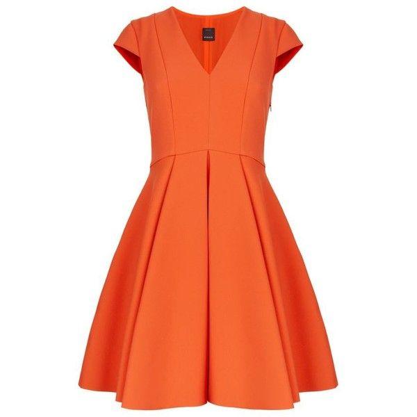 Pinko Crepe V-Neck Skater Dress (1.085 BRL) ❤ liked on Polyvore featuring dresses, orange flare dress, flared skater dress, skater dress, v neck skater dress and v-neck dresses