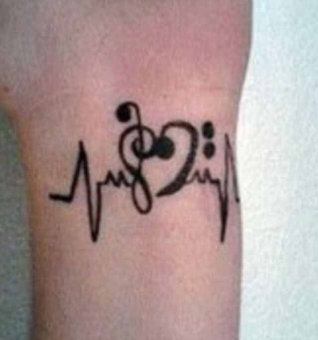 treble and bass clef heart and heartbeat tattoo inspiration pinterest tattoo. Black Bedroom Furniture Sets. Home Design Ideas