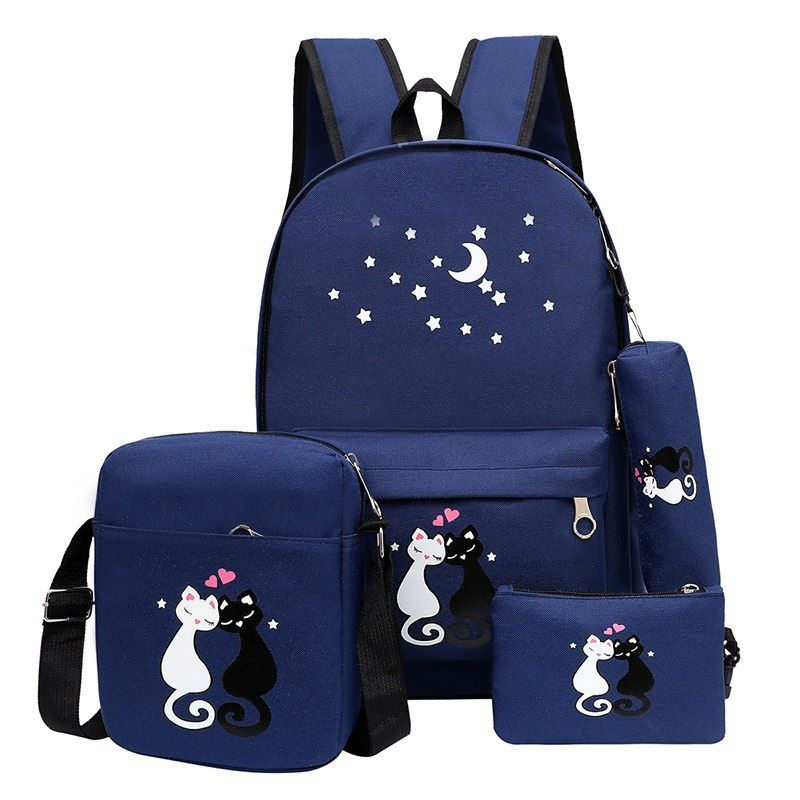 Fashion School Backpack For Girls Schoolbag Cat Printing Korean Rucksack  Unisex Shoulder School BAG Mochila High Quality 00d745b8f464b