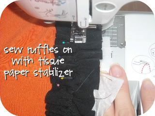 """To avoid stretching knit fabric, sew on 2"""" strips of tissue paper.   I Sew, Do You: Shirt to Toddler Ruffle Dress Tutorial"""