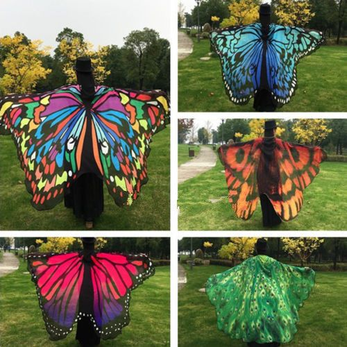 Women Big Butterfly Wing Shawl Stole Scarf Beach Wrap Costume Party | eBay