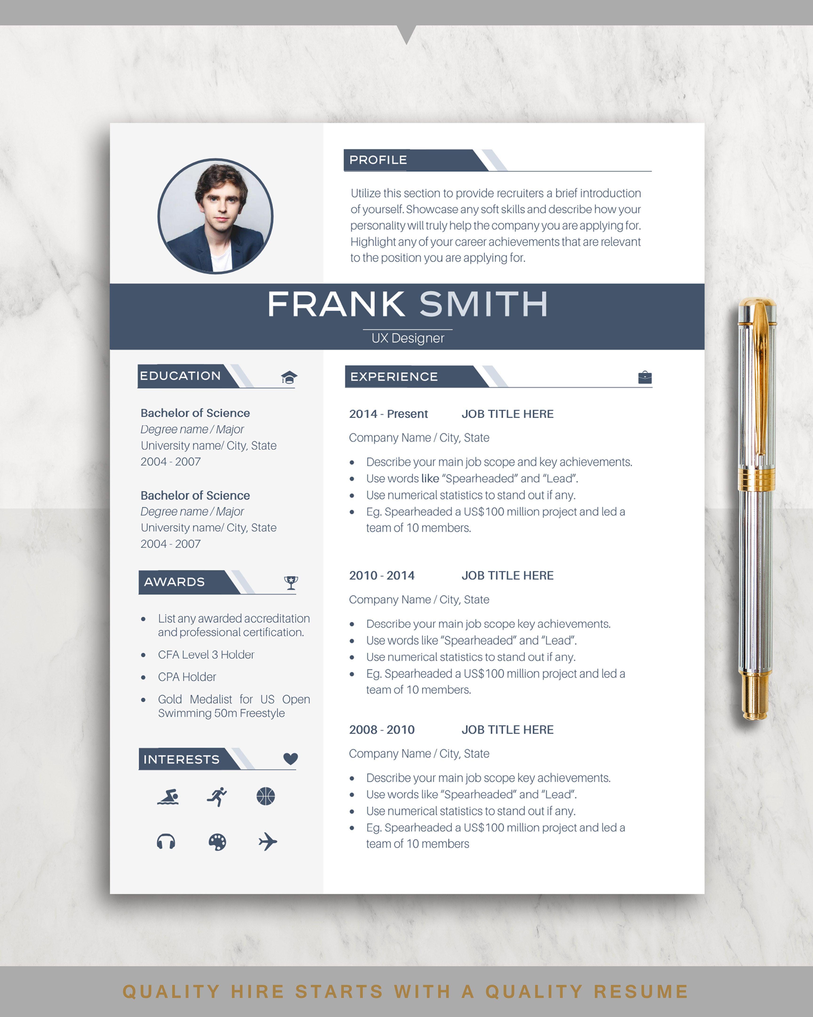Resume Template Cv Template Professional Resume Templates Creative Modern Minimalist Design In 2020 Resume Template Professional Cv Template Resume Template