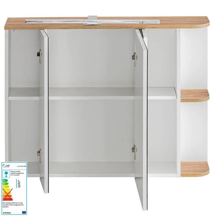 Badezimmer Spiegelschrank Mit Led 3d Spiegelturen Campos 56 Weiss