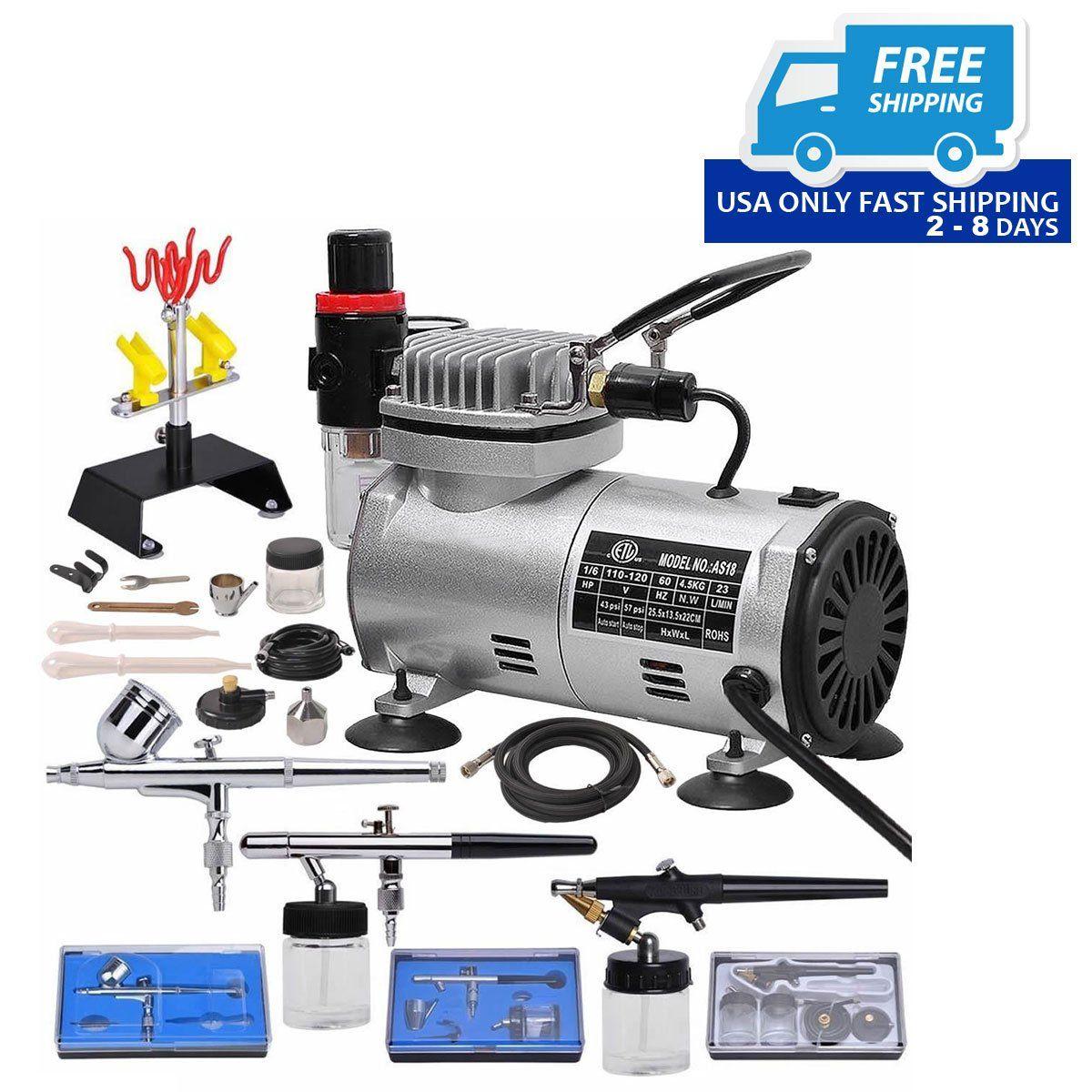 3 Airbrush & Compressor Kit DualAction Spray Air Brush