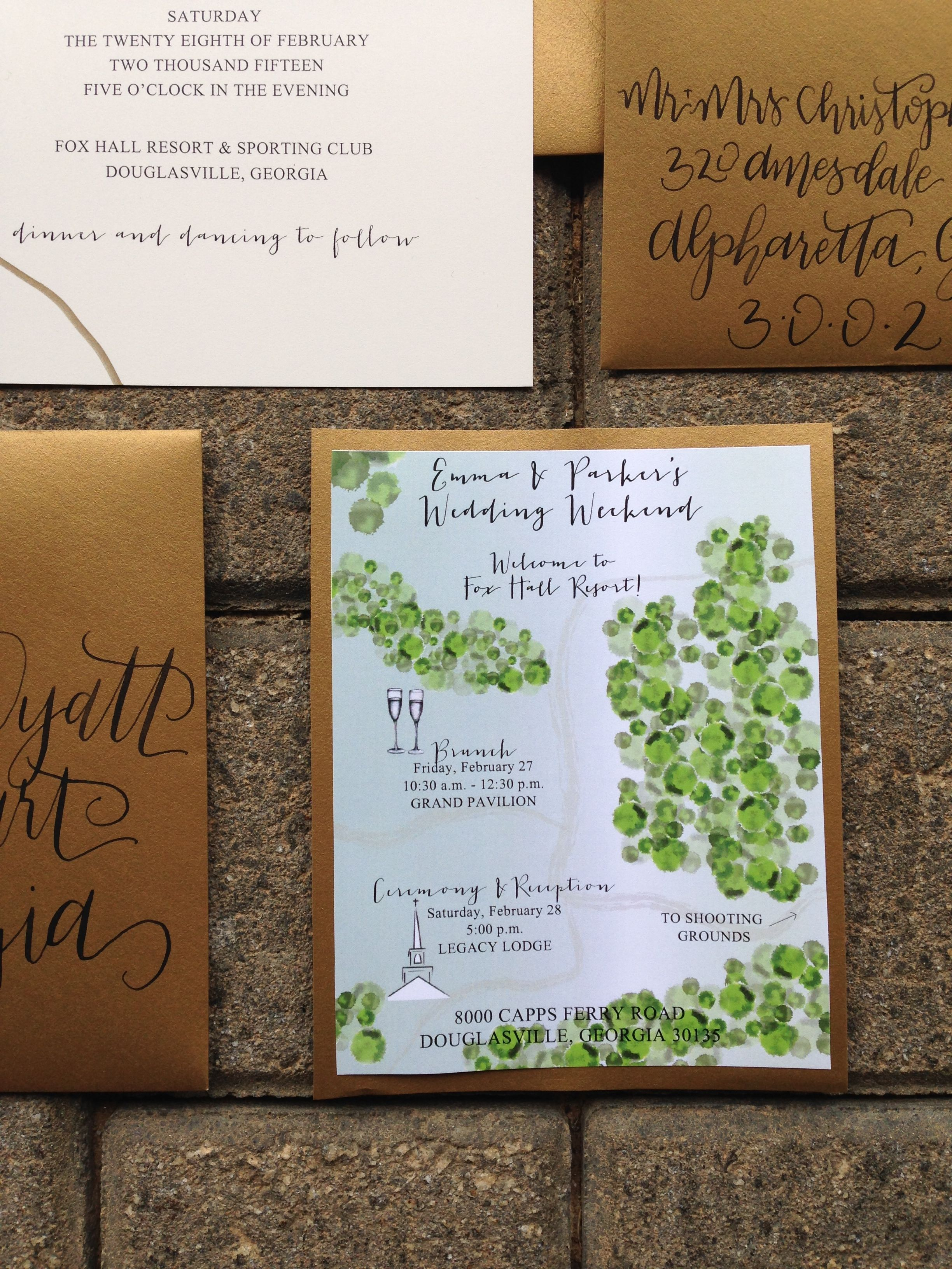 Wedding Invitation Map And Itinerary   Atlanta Wedding, Foxhall Resort