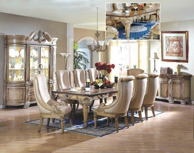 Modern formal dining room set in antique crackle white for Formal modern dining room sets