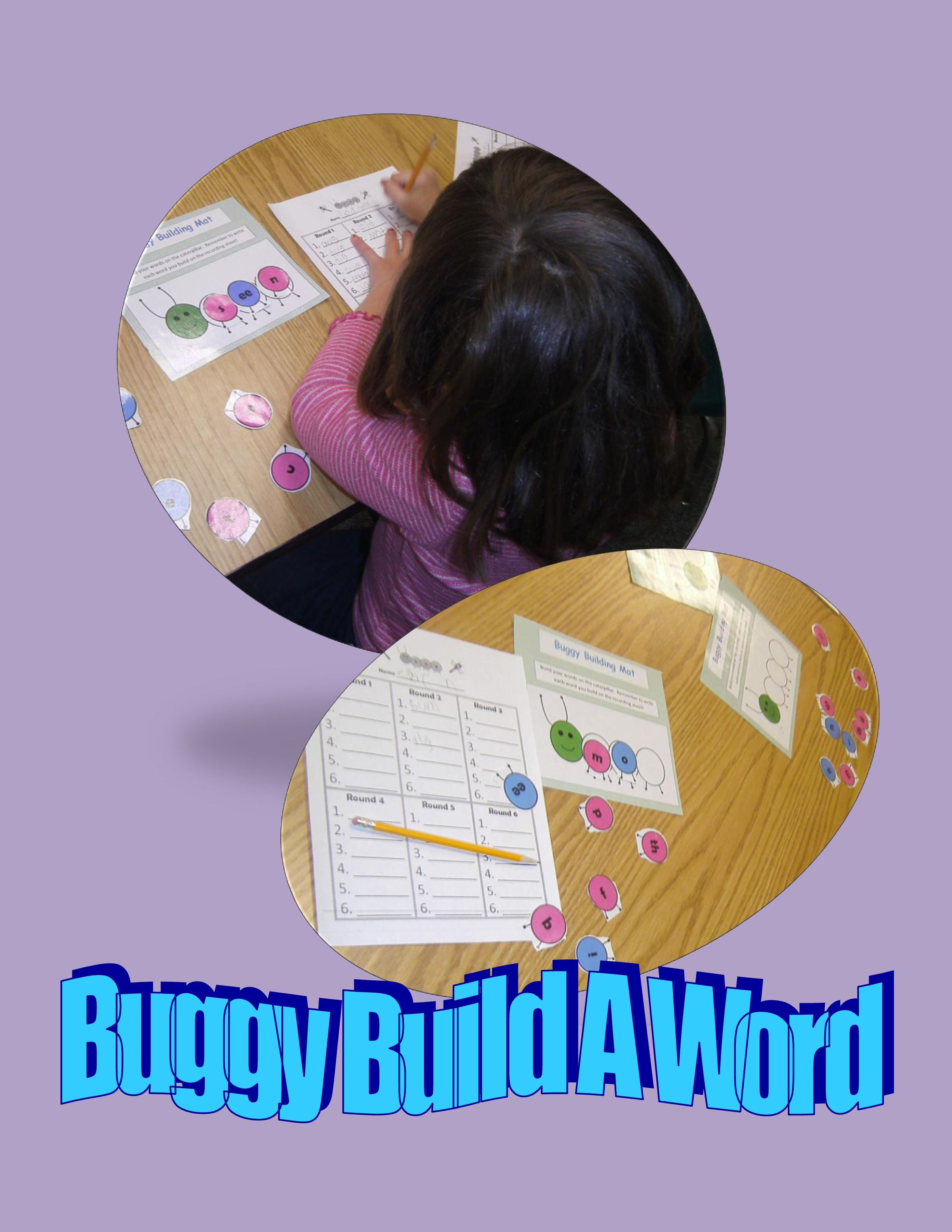 Fun game for building early phonics skills. http://www.teacherspayteachers.com/Product/Buggy-Build-A-Word-An-Early-Literacy-Center-648845