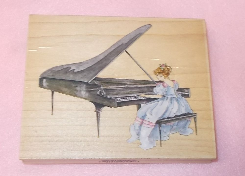 Stamps Happen Victorian piano lady rubber stamp 90108 Grand Piano Mildred Wyatt…