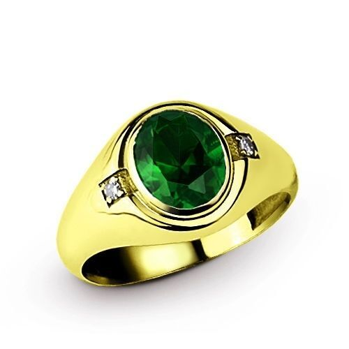 Details about Mens EMERALD Ring with DIAMOND Accents Solid Silver in 18k Yellow Gold Plated