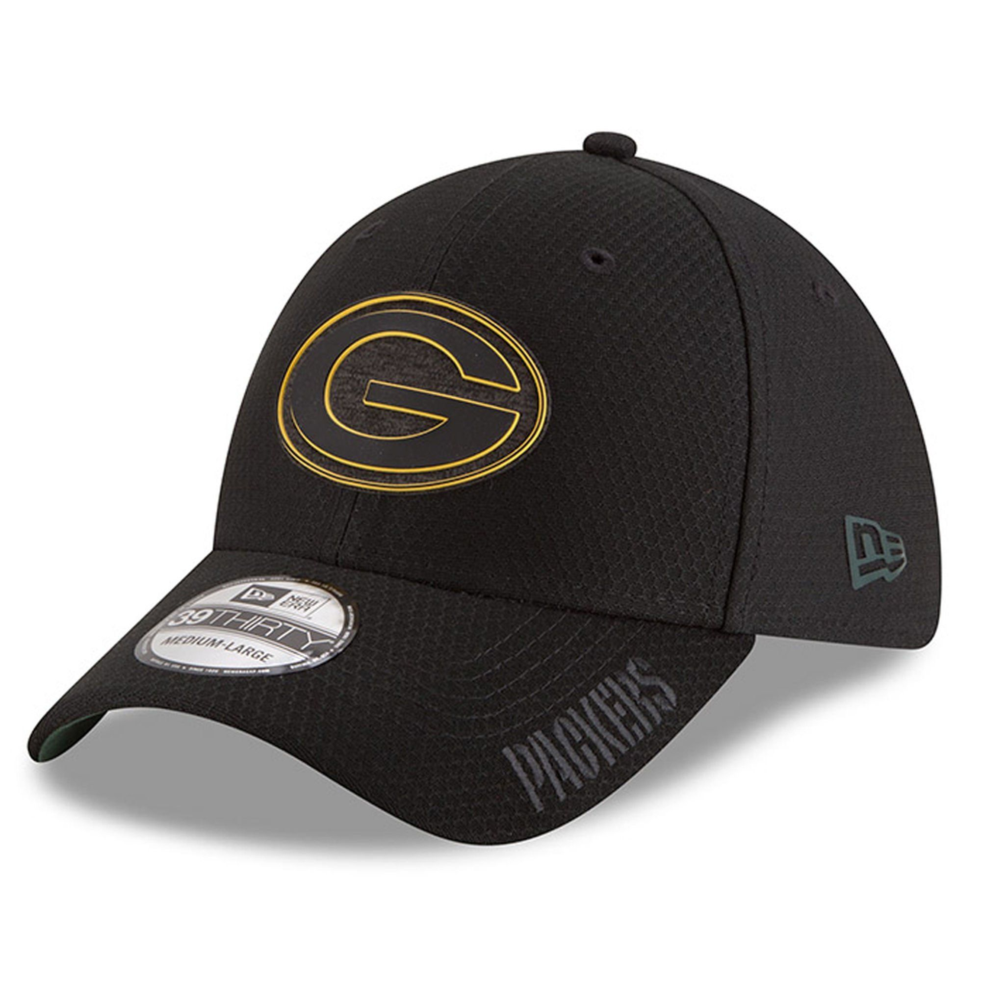 266975c5f11 Men s Green Bay Packers New Era Black 2018 Training Camp 39THIRTY Flex Hat