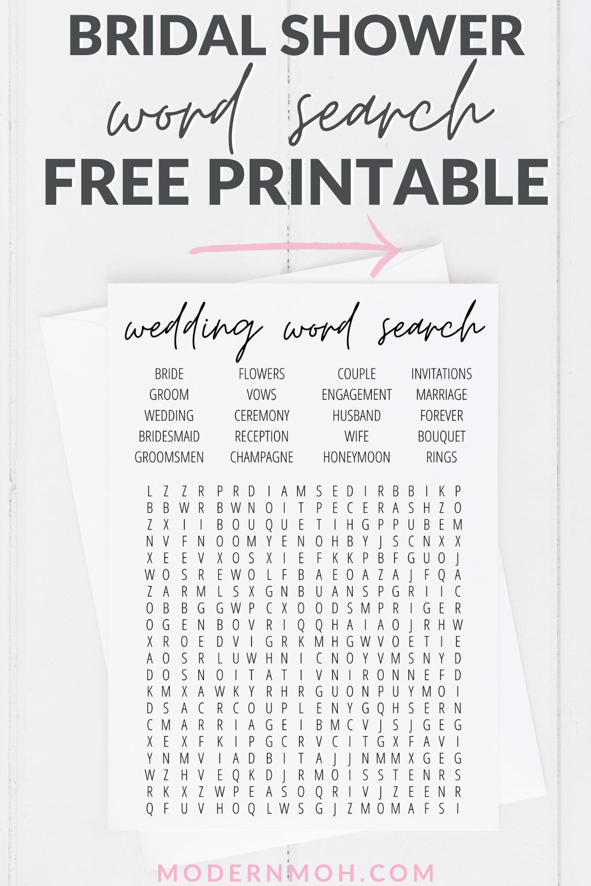 Bridal Shower Word Search Free Printable Bridal shower