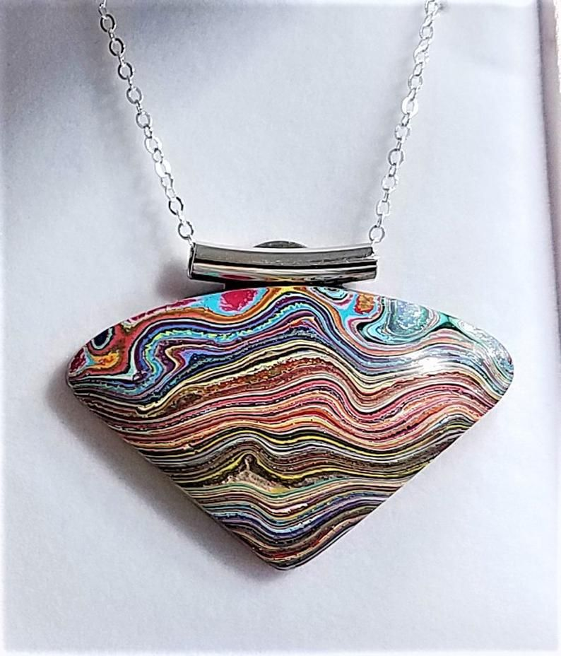 lots of cubic,zirconia   FG6717 20 Breathtaking Fordite Detroit Agate Cabochon necklace on 24ct gold Filled Bail and Chain