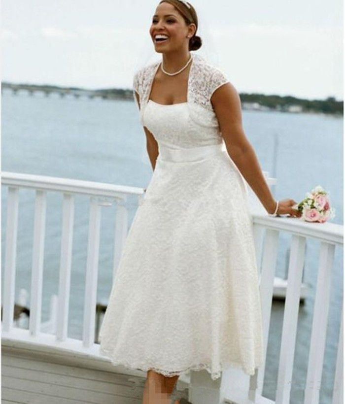 Plus Size NEW Tea Length Lace beach bridal gown wedding dress custom ...