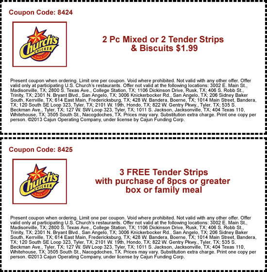 Pinned march 3rd 2pc wbiscuit just 2 bucks more at churchs churchs chicken coupon churchs chicken promo code from the coupons app club sandwich free with your fries drink at churchs chicken january fandeluxe Gallery