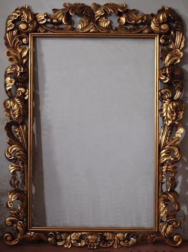 Marco tallado y pintado de color dorado pinterest for Espejos dorados ovalados
