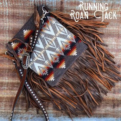 Palo Duro Zipper Top Authentic Pendleton Wool Pacific Crest Cross Body Handbag with Fringe and Antique Silver Accents by Running Roan Tack