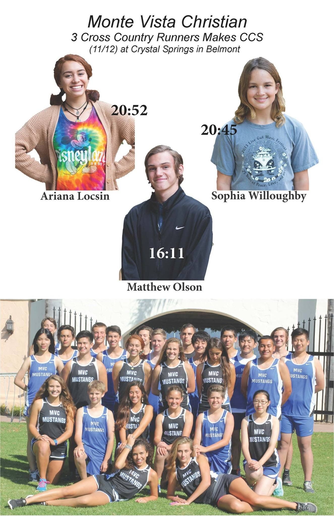 Monte Vista Christian Cross Country Three Varsity Runners Made Ccs Matthew Olson Sophia Willoughby Ariana Lo League Champs Cheer Team National Champions