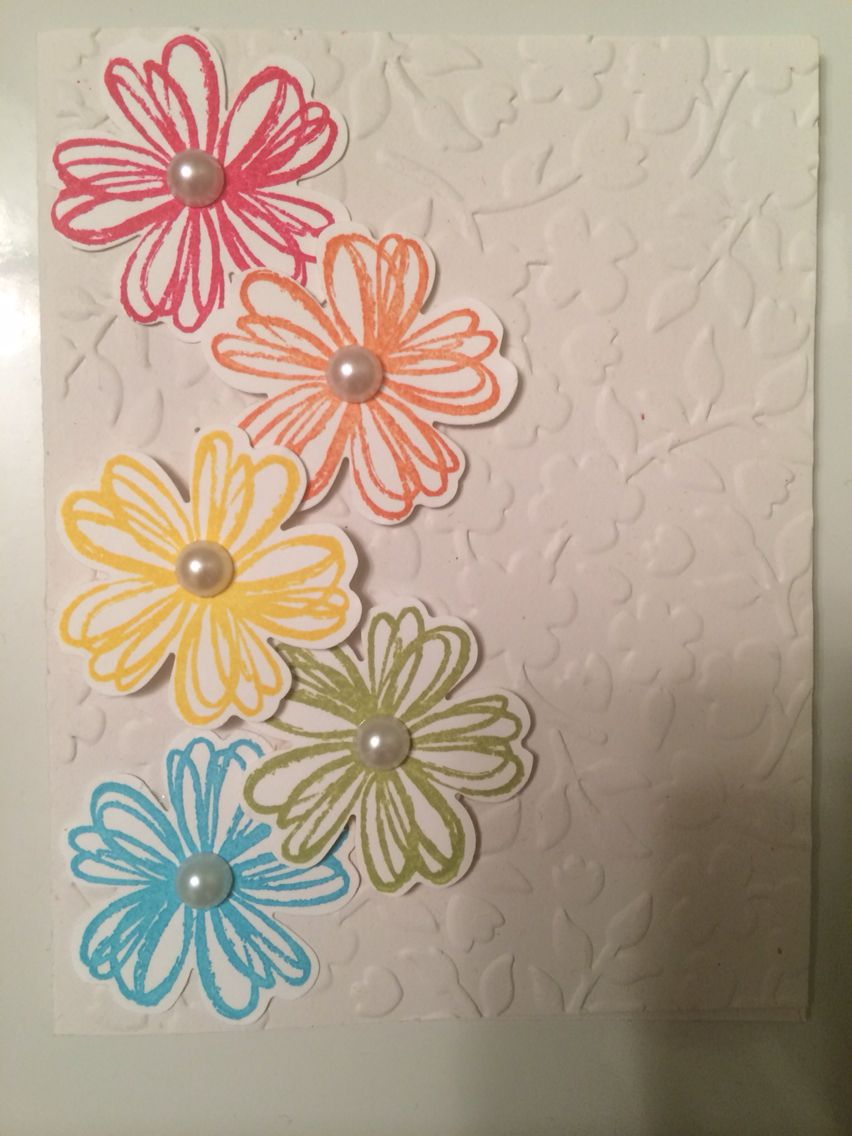Stampin up flower card with pearls.