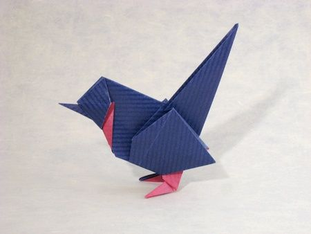 Origami Wren by Roman Diaz Folded from a square of duo Kraft