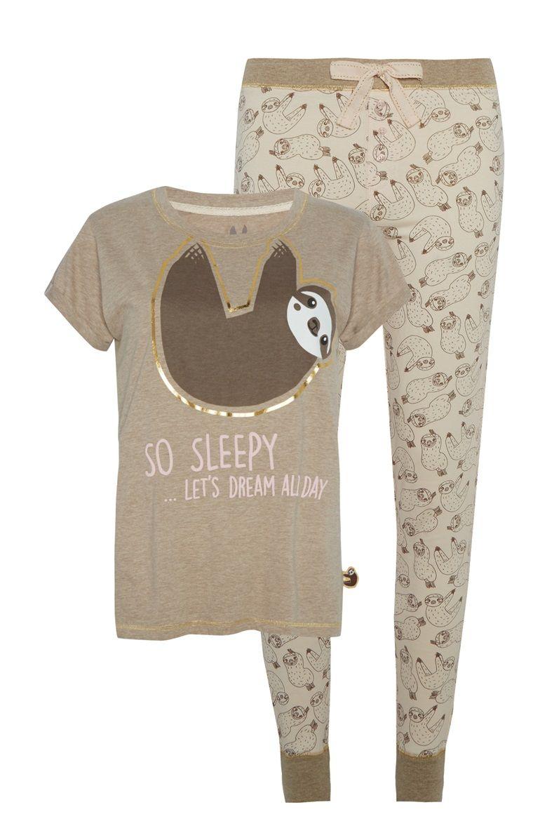 Primark Beige Print Pyjama Set Sloth Pajamas Cute