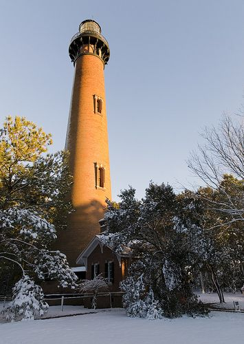 Currituck Beach Lighthouse in the snow - Outer Banks, North Carolina.