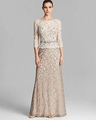 Tadashi Shoji Gown - Three Quarter Sleeve Lace Belted ...