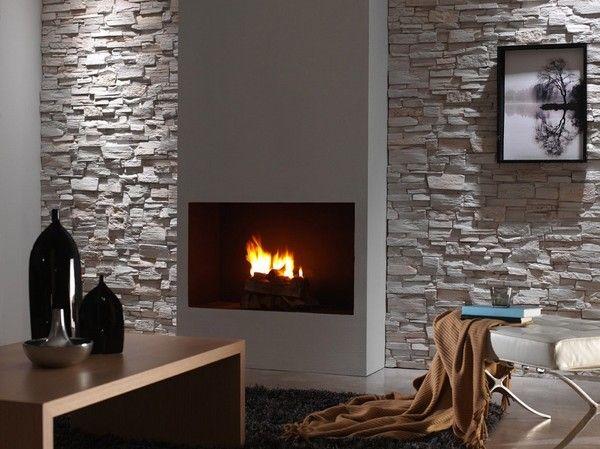 Rivestimento finta pietra soggiorno brick wall paneling faux