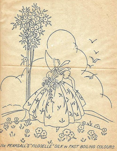 Old Transfer From Grandma   embroidery   Pinterest
