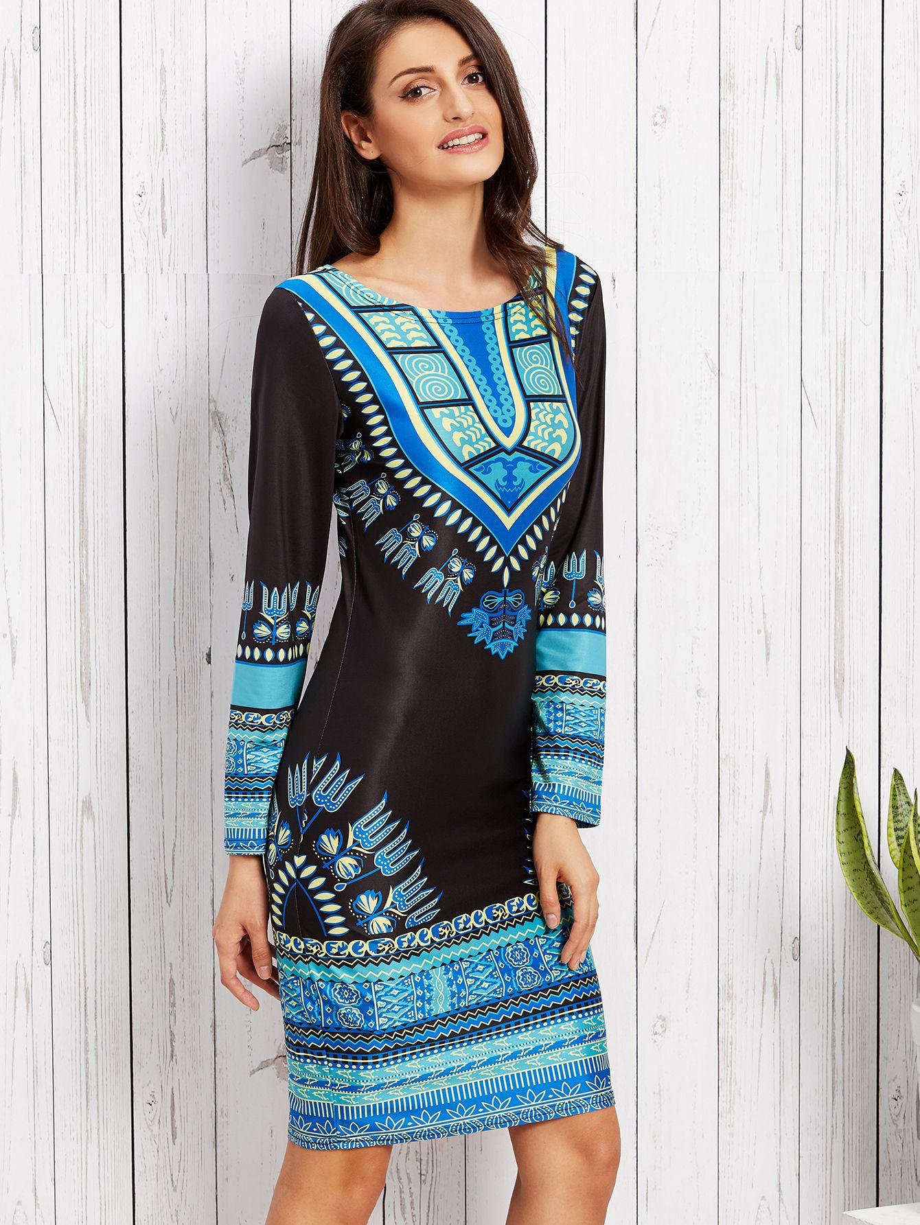 Shop Black Tribal Print Sheath Dress online. SheIn offers Black ...
